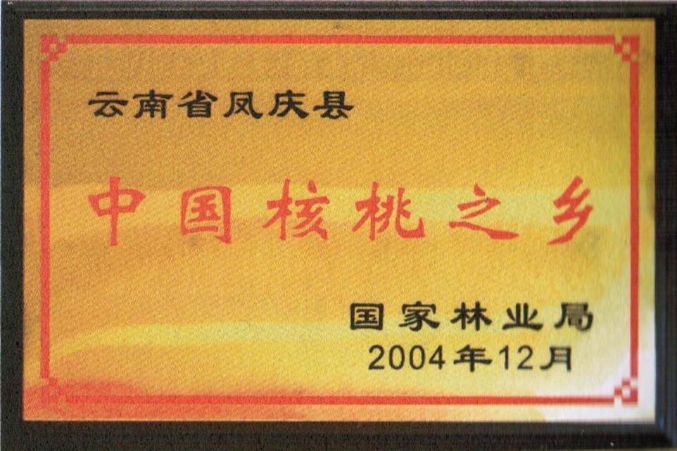 中国核桃之乡证书